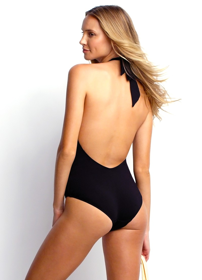 Mod Club High Neck Solid One Piece Maillot