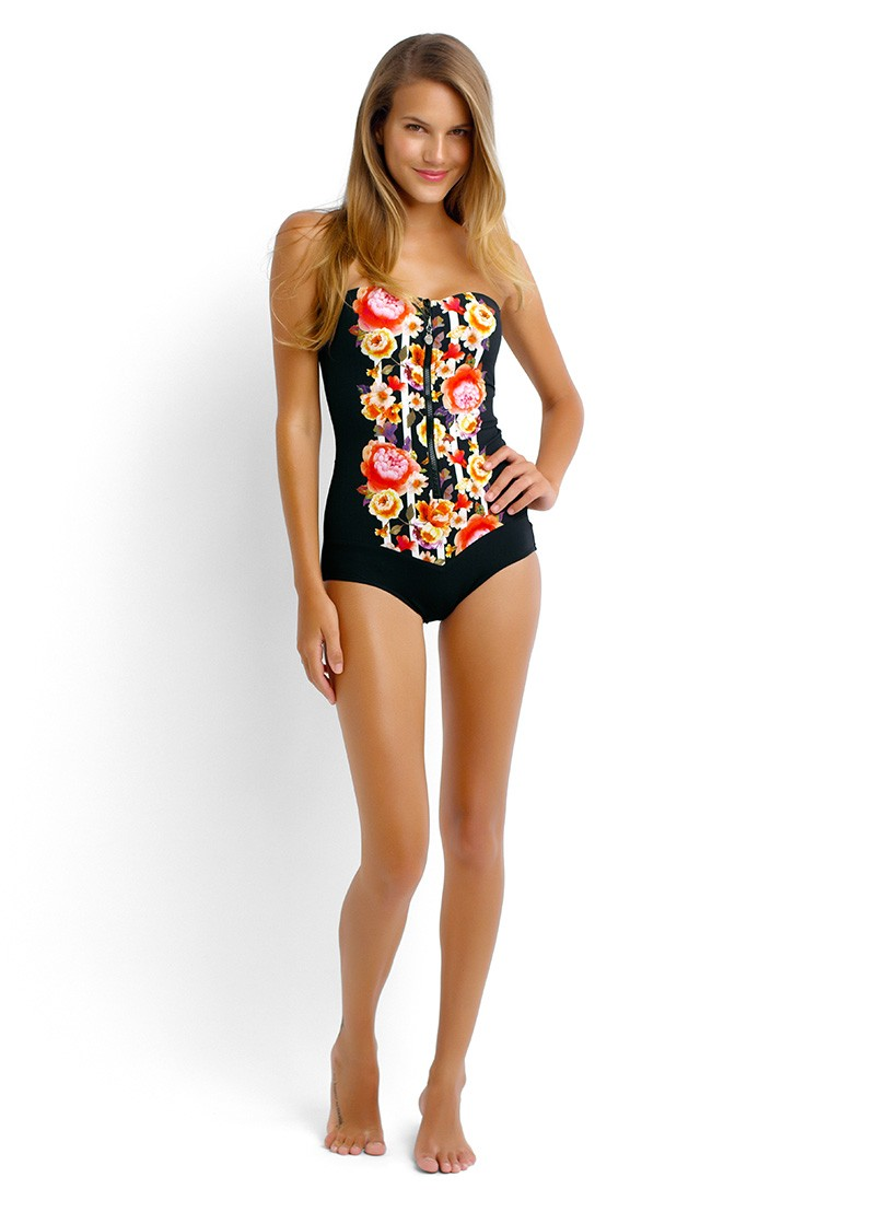 Romeo Rose Zip Front One Piece Maillot