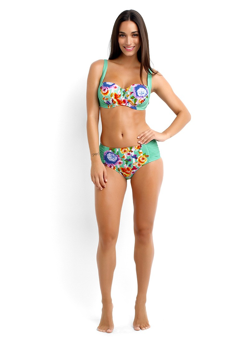 Romeo Rose DD Balconette Bikini Top and Ruched Panel Retro Bikini Pant