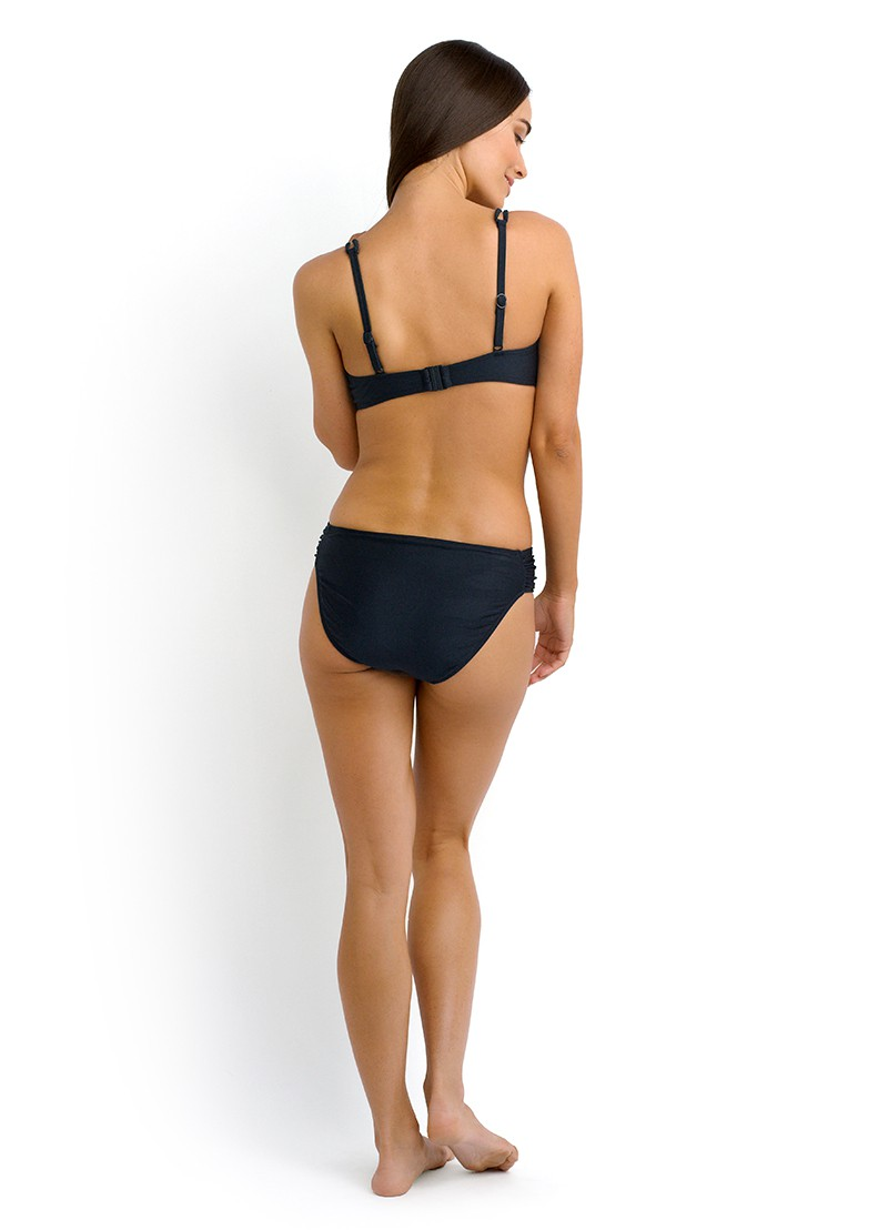 Shimmer D Cup Bustier Bra & Ruched Side Retro Bikini Pant