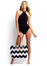 Mod Club High Neck Solid Maillot and Zig Zag Bag