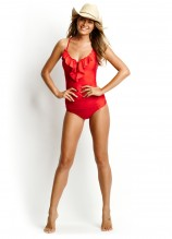 Shimmer Frill Front Singlet and Ruched Side Retro