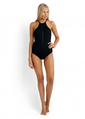 Coral Crush High Neck One Piece Maillot