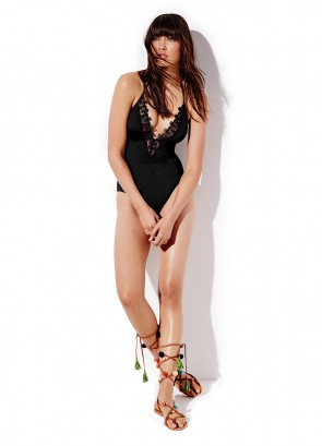 Laced Deep 'V' One Piece Maillot Black