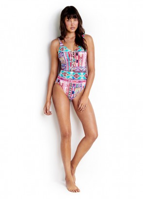 Beach Bazaar Lace Up One Piece Maillot