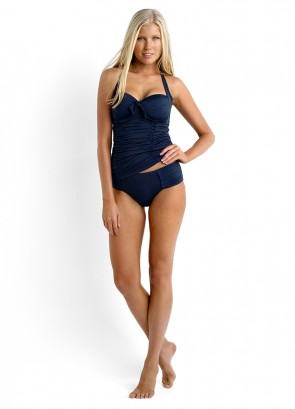 Seafolly Soft Cup Halter Singlet & Pleated Retro Bikini Pant