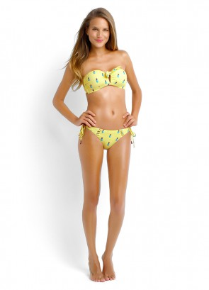 Summer Crush Tie Front Bandeau and Brazilian Tie Side - Limon