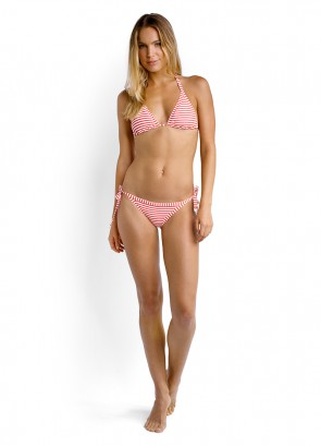Riviera Stripe Slide Triangle Bikini Top & Tie Side Brazilian Bikini Pant