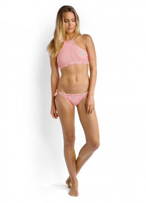 Riviera Stripe High Neck Bikini Tank Top & Tie Side Brazilian Bikini Pant
