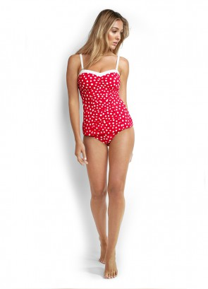 Spot On C/D Cup Bandeau Singlet Tankini & Ruched Side Retro Pant