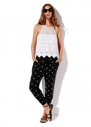 Halter Top & Shirred Waist Print Pant