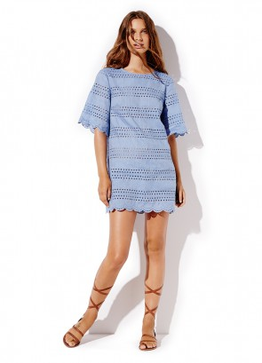 Chambray Broderie Dress