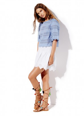 Chambray Broderie Crop Top & Shirred Waist Skirt