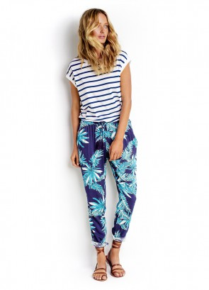 Stripe Cap Sleeve Tee & Tropical Print Pant
