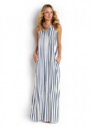 Vertical Stripe Jersey Maxi Dress