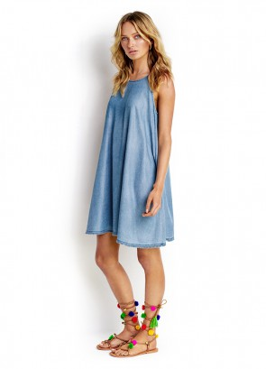 Fringed Hem Chambray Dress