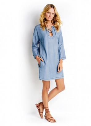 Lace Up Chambray Dress