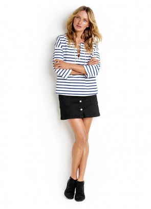 Lace Up Stripe Top & Denim A Line Skirt