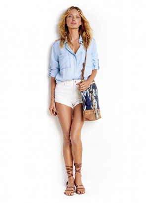 Split Tail Chambray Shirt & White High Waisted Short