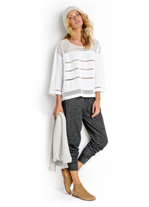 Mesh Insert Blouse & Charcoal French Terry Pant