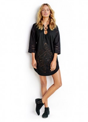 Lace Front Cutwork Tunic