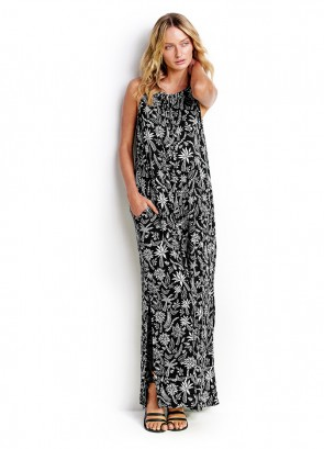 Palm Print Jersy Maxi Dress