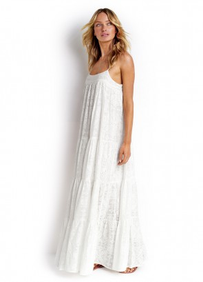 X-Stitched Tiered Maxi Dress
