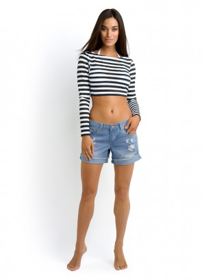 Coast to Coast Cropped Rash Vest & Sky Cloud Short