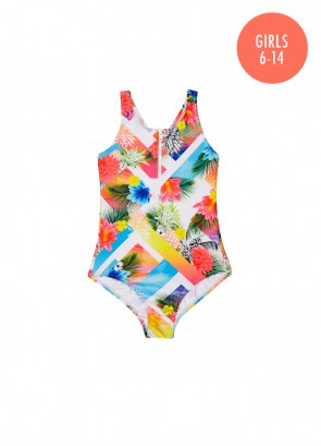 Tropical Splice Zip Tank One Piece
