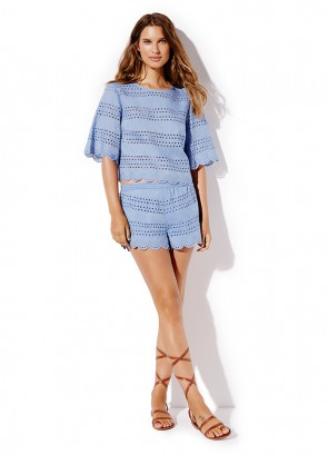 Chambray Broderie Crop Top & Chambray Broderie Short